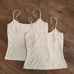 Express camisoles with bra shelf, white - set of 2